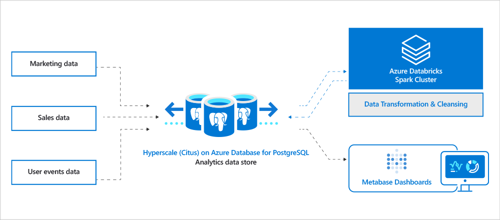 Architecture diagram for analytics data store with Hyperscale Citus and Azure Databricks